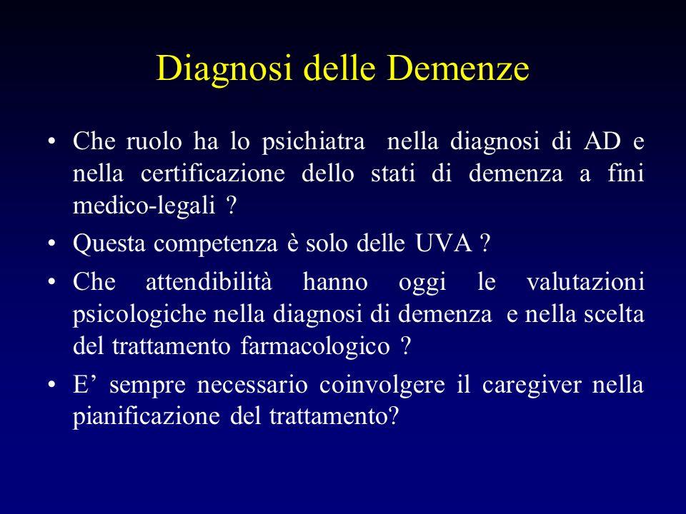 Diagnosi delle Demenze Che ruolo ha lo psichiatra nella diagnosi di AD e nella certificazione dello stati di demenza a fini medico-legali .