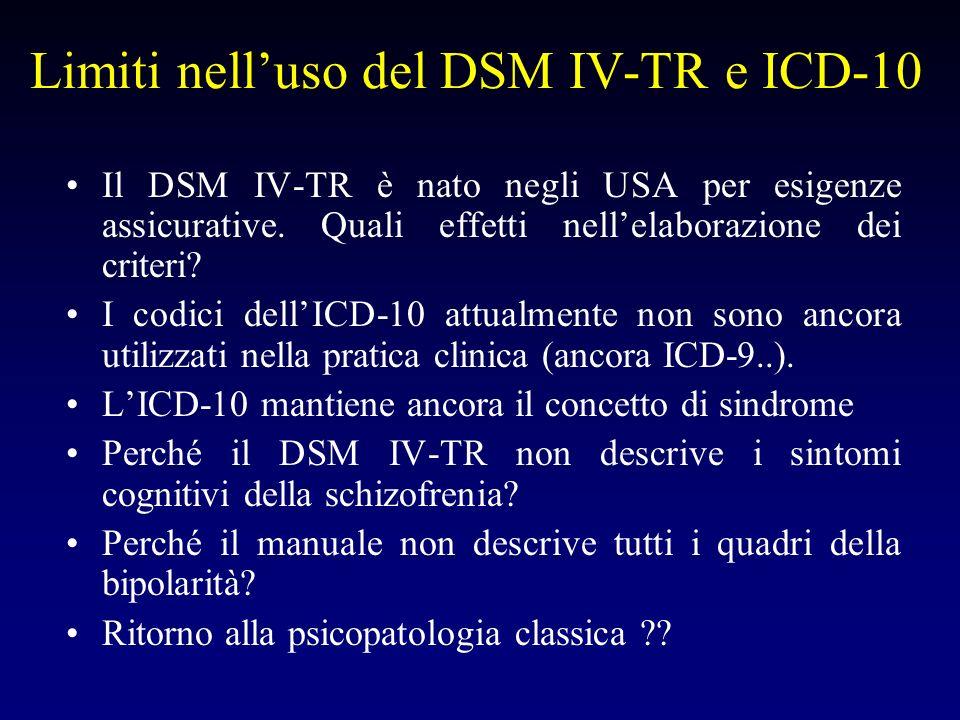 Limiti nelluso del DSM IV-TR e ICD-10 I temperamenti patologici devono essere valutati nella scelta del trattamento con stabilizzanti dellumore .