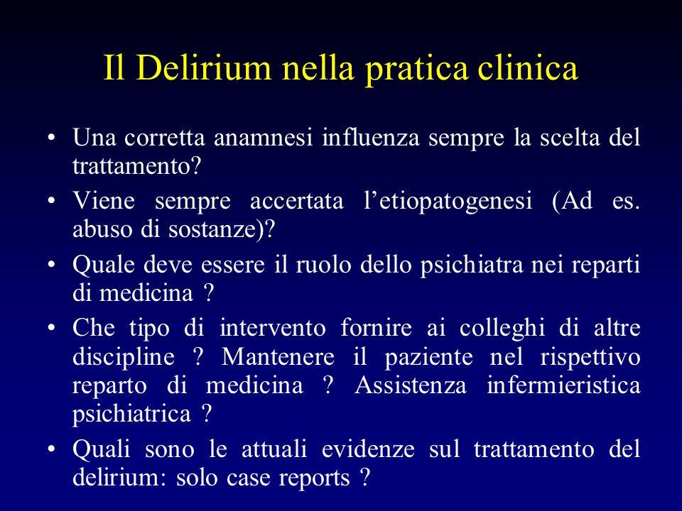 Il Delirium nella pratica clinica Quali sono i fattori di rischio per lo sviluppo del delirium (contenzione fisica, malnutrizione, anticolinergici, disidratazione, deprivazione di sonno) .