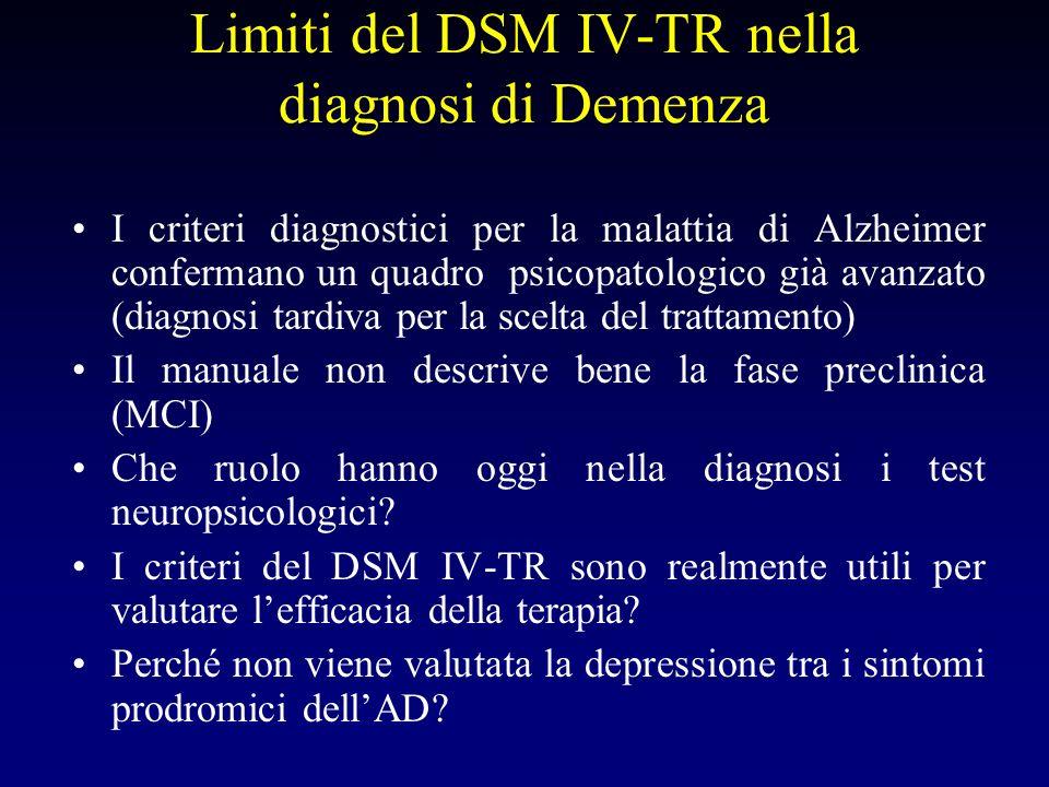 Limiti del DSM IV-TR nella diagnosi dei disturbi cognitivi Viene mai utilizzata nella pratica clinica la diagnosi di disturbo amnestico indotto da BDZ.