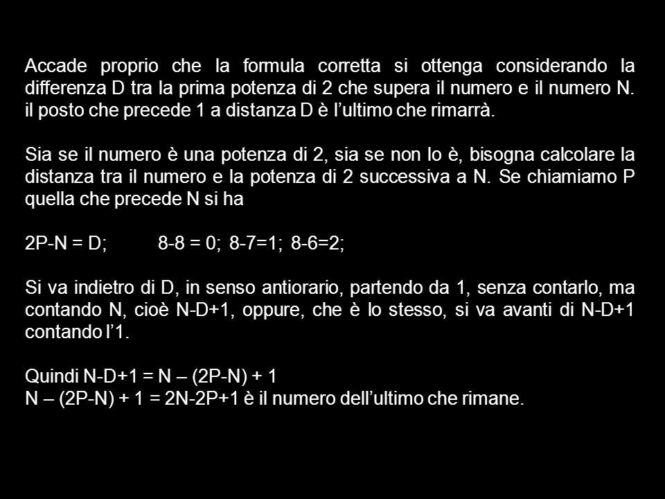 Accade proprio che la formula corretta si ottenga considerando la differenza D tra la prima potenza di 2 che supera il numero e il numero N. il posto