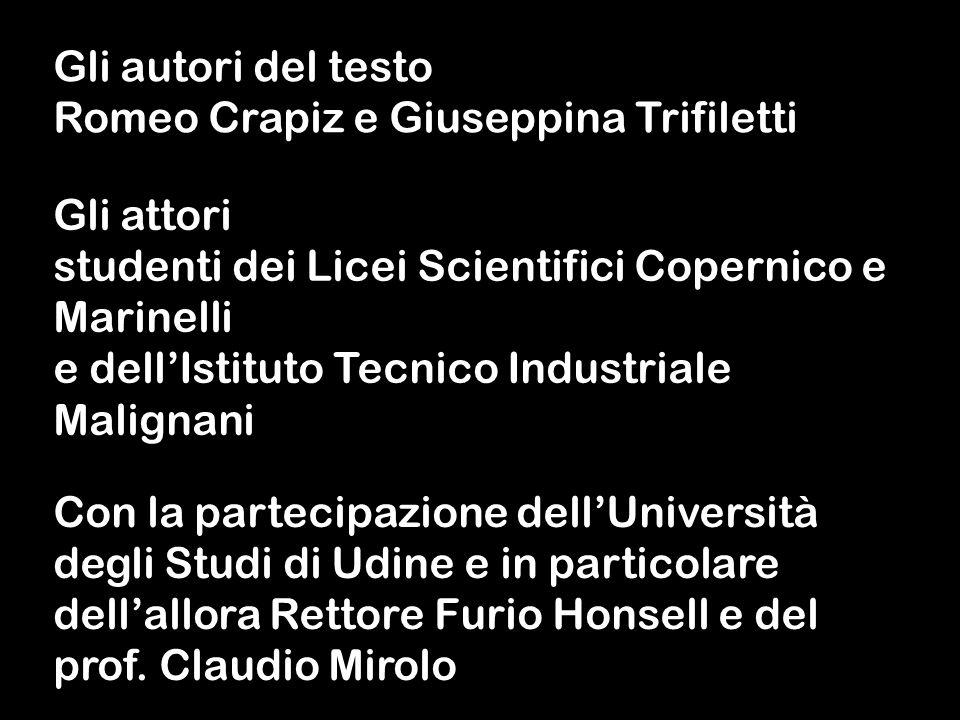 Gli autori del testo Romeo Crapiz e Giuseppina Trifiletti Gli attori studenti dei Licei Scientifici Copernico e Marinelli e dellIstituto Tecnico Indus