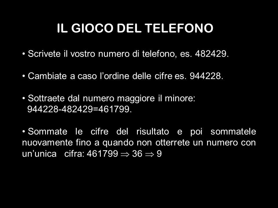 IL GIOCO DEL TELEFONO Scrivete il vostro numero di telefono, es. 482429. Cambiate a caso lordine delle cifre es. 944228. Sottraete dal numero maggiore