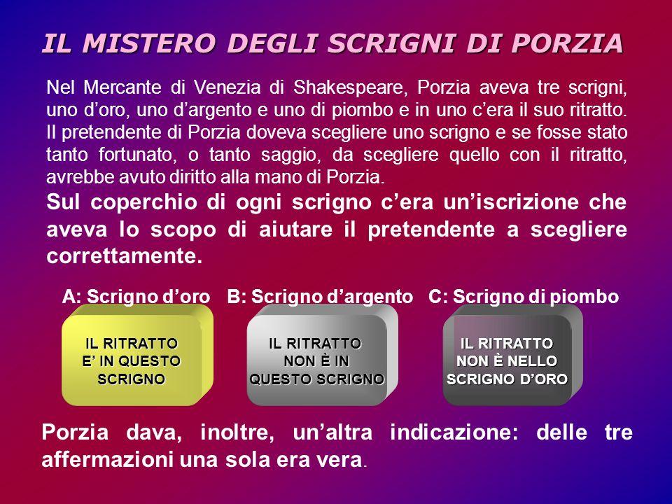 IL MISTERO DEGLI SCRIGNI DI PORZIA Nel Mercante di Venezia di Shakespeare, Porzia aveva tre scrigni, uno doro, uno dargento e uno di piombo e in uno cera il suo ritratto.