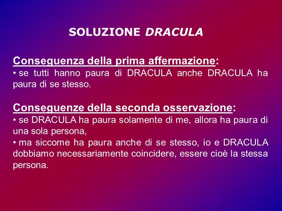 Conseguenza della prima affermazione: se tutti hanno paura di DRACULA anche DRACULA ha paura di se stesso.