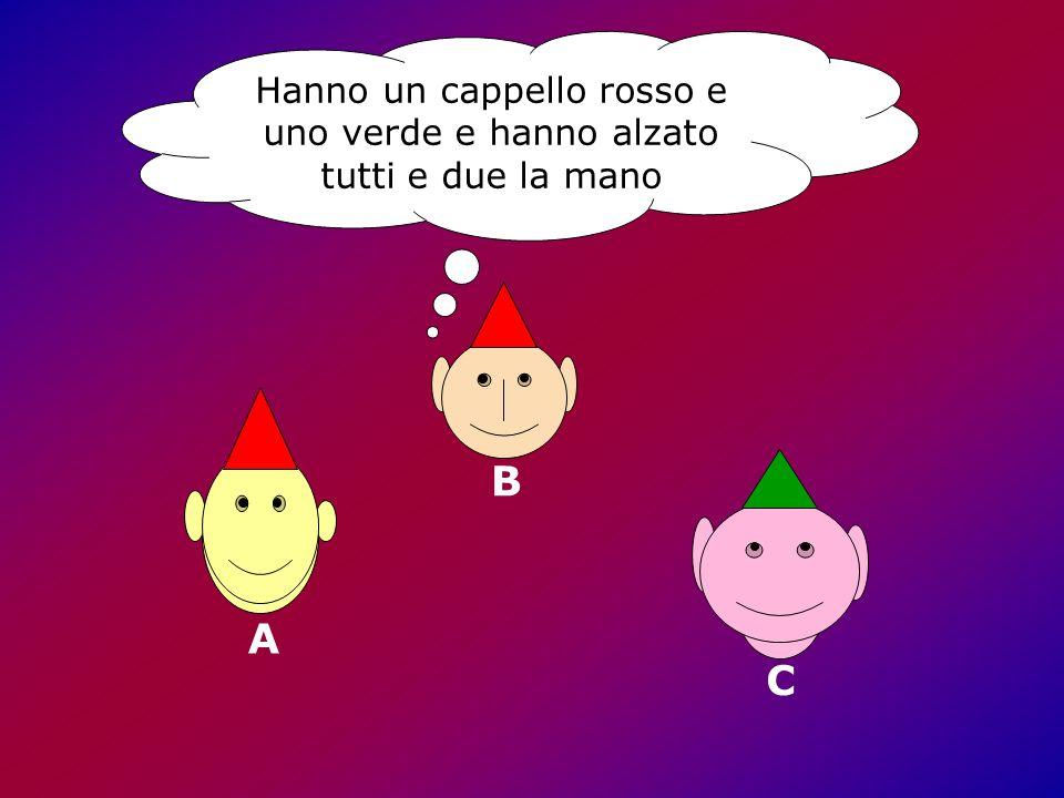 B Hanno un cappello rosso e uno verde e hanno alzato tutti e due la mano A C