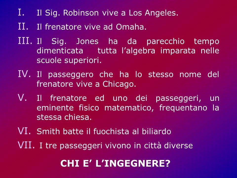 I.Il Sig. Robinson vive a Los Angeles. II. Il frenatore vive ad Omaha.