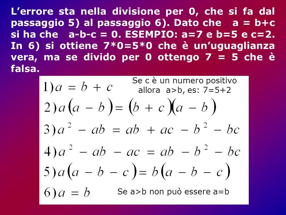 Lerrore sta nella divisione per 0, che si fa dal passaggio 5) al passaggio 6).