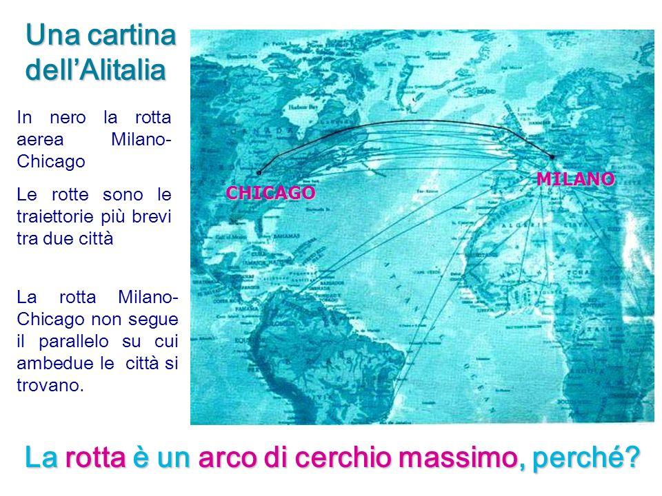 In nero la rotta aerea Milano- Chicago Le rotte sono le traiettorie più brevi tra due città La rotta Milano- Chicago non segue il parallelo su cui amb