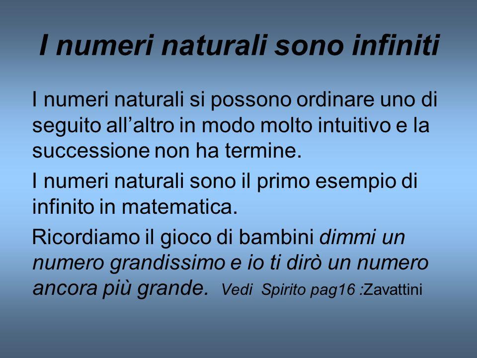 I numeri naturali sono infiniti I numeri naturali si possono ordinare uno di seguito allaltro in modo molto intuitivo e la successione non ha termine.
