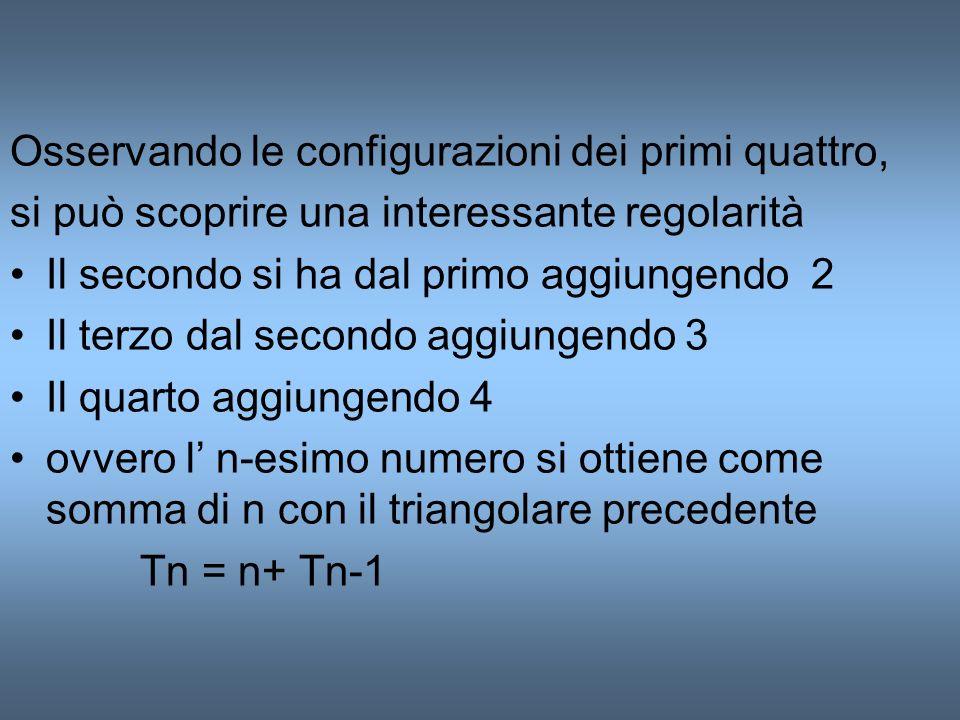 Osservando le configurazioni dei primi quattro, si può scoprire una interessante regolarità Il secondo si ha dal primo aggiungendo 2 Il terzo dal seco