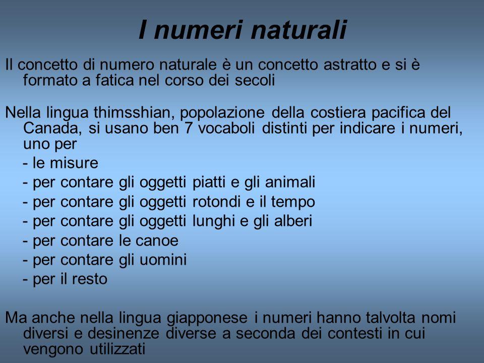 I numeri naturali Il concetto di numero naturale è un concetto astratto e si è formato a fatica nel corso dei secoli Nella lingua thimsshian, popolazi
