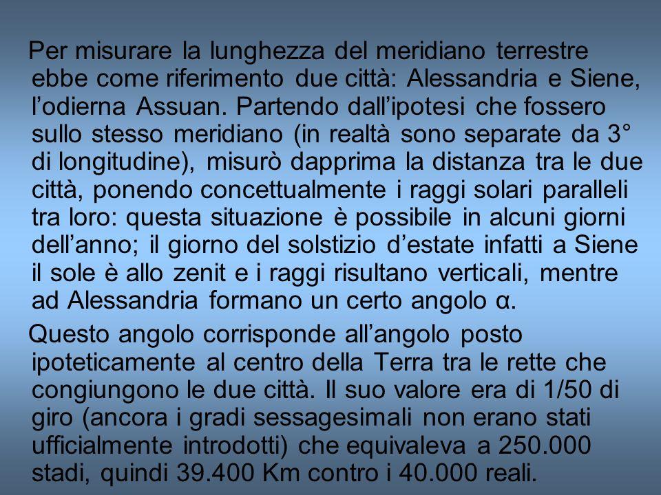 Per misurare la lunghezza del meridiano terrestre ebbe come riferimento due città: Alessandria e Siene, lodierna Assuan. Partendo dallipotesi che foss