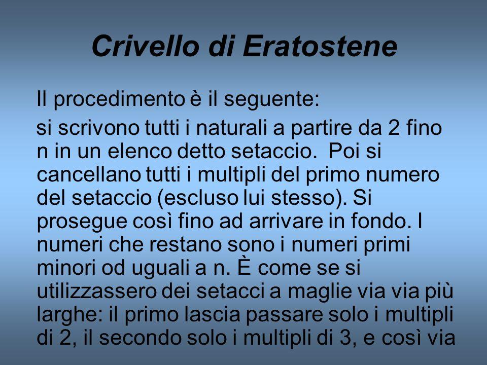Crivello di Eratostene Il procedimento è il seguente: si scrivono tutti i naturali a partire da 2 fino n in un elenco detto setaccio. Poi si cancellan