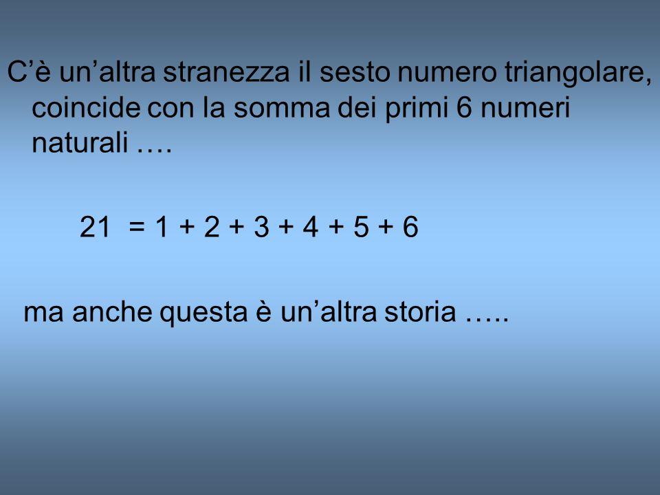 Cè unaltra stranezza il sesto numero triangolare, coincide con la somma dei primi 6 numeri naturali …. 21 = 1 + 2 + 3 + 4 + 5 + 6 ma anche questa è un