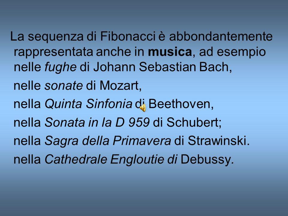 La sequenza di Fibonacci è abbondantemente rappresentata anche in musica, ad esempio nelle fughe di Johann Sebastian Bach, nelle sonate di Mozart, nel