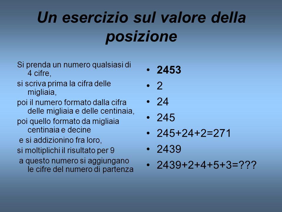 Un esercizio sul valore della posizione Si prenda un numero qualsiasi di 4 cifre, si scriva prima la cifra delle migliaia, poi il numero formato dalla