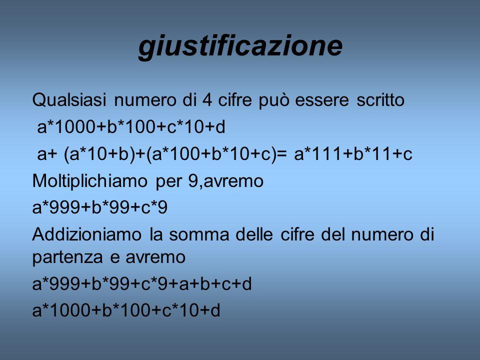 giustificazione Qualsiasi numero di 4 cifre può essere scritto a*1000+b*100+c*10+d a+ (a*10+b)+(a*100+b*10+c)= a*111+b*11+c Moltiplichiamo per 9,avrem