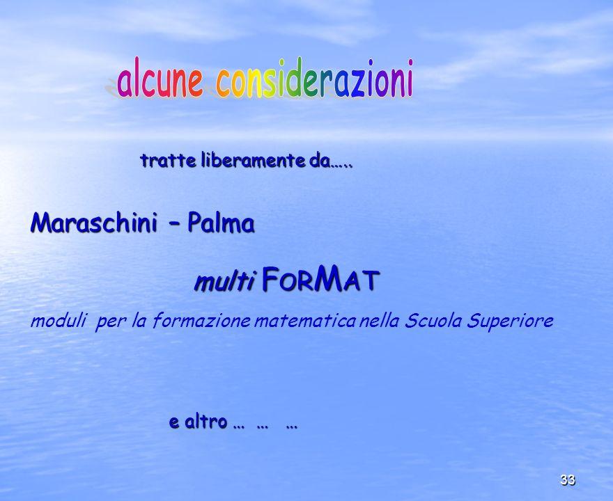 33 Maraschini – Palma multi F O R M AT multi F O R M AT moduli per la formazione matematica nella Scuola Superiore e altro … … … e altro … … … tratte
