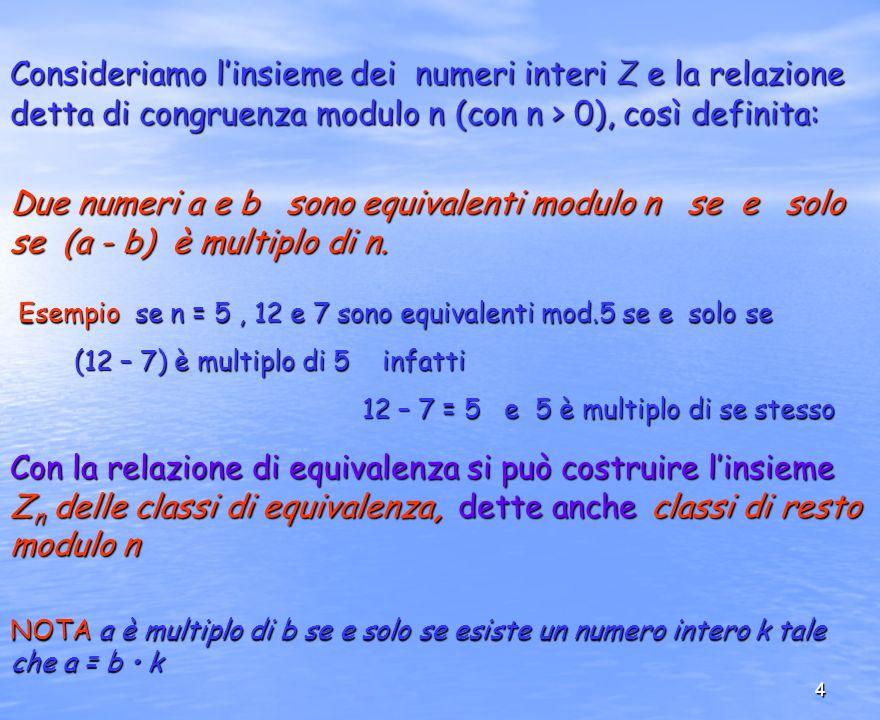 4 Consideriamo linsieme dei numeri interi Z e la relazione detta di congruenza modulo n (con n > 0), così definita: Due numeri a e b sono equivalenti