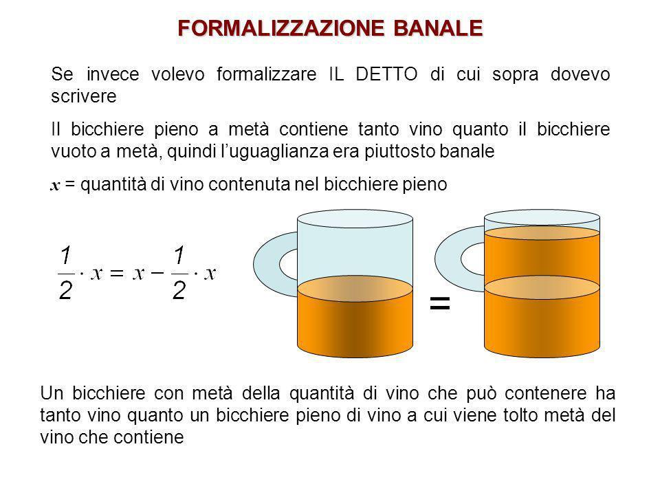 Se invece volevo formalizzare IL DETTO di cui sopra dovevo scrivere Il bicchiere pieno a metà contiene tanto vino quanto il bicchiere vuoto a metà, qu