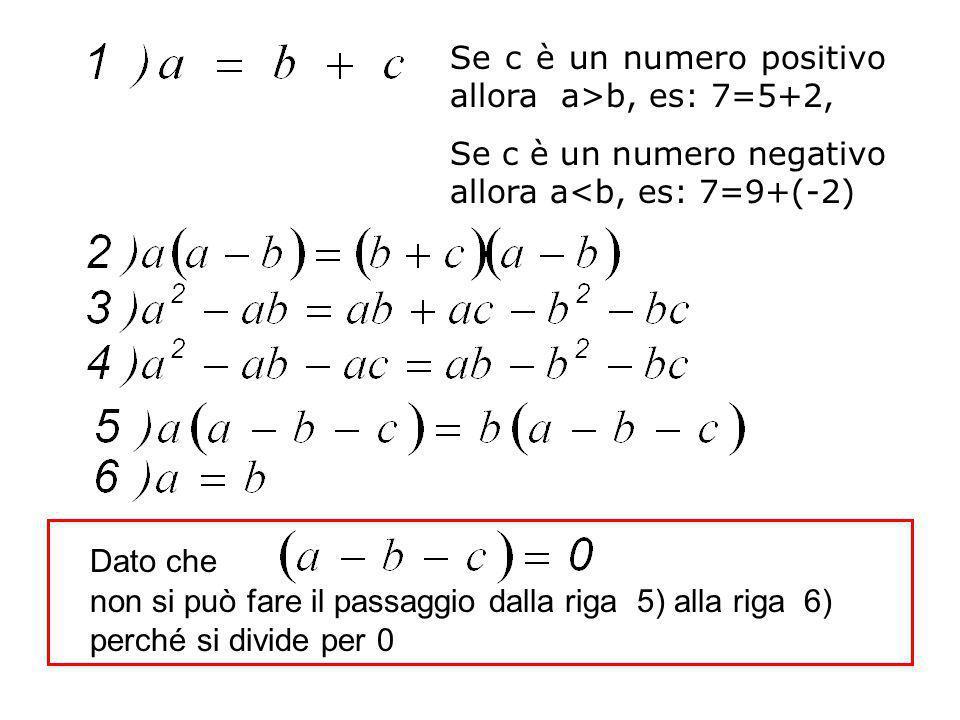 Se c è un numero positivo allora a>b, es: 7=5+2, Se c è un numero negativo allora a<b, es: 7=9+(-2) Dato che non si può fare il passaggio dalla riga 5) alla riga 6) perché si divide per 0