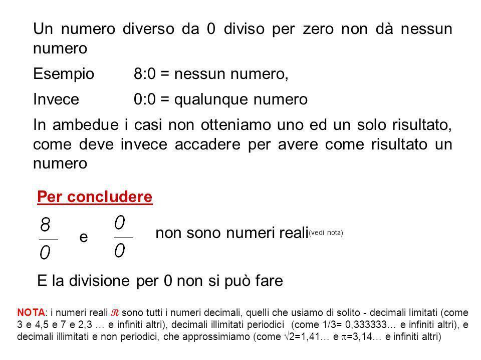 Un numero diverso da 0 diviso per zero non dà nessun numero Esempio 8:0 = nessun numero, Invece 0:0 = qualunque numero In ambedue i casi non otteniamo