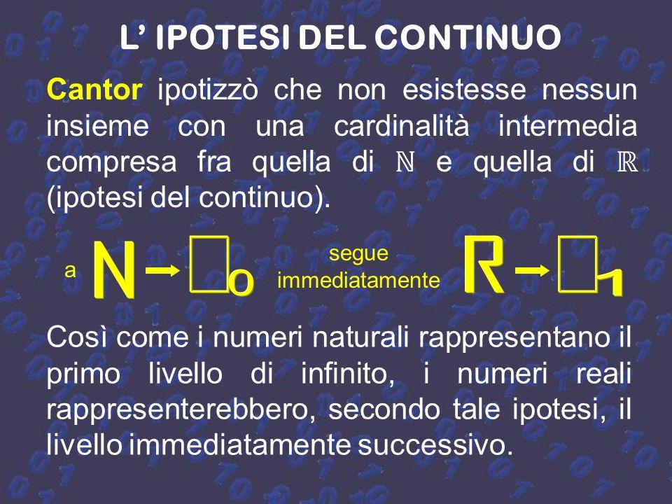 La numerabilità dei razionali Il fatto che la cardinalità dei razionali sia la stessa degli interi è abbastanza sorprendente, in quanto si è passati d