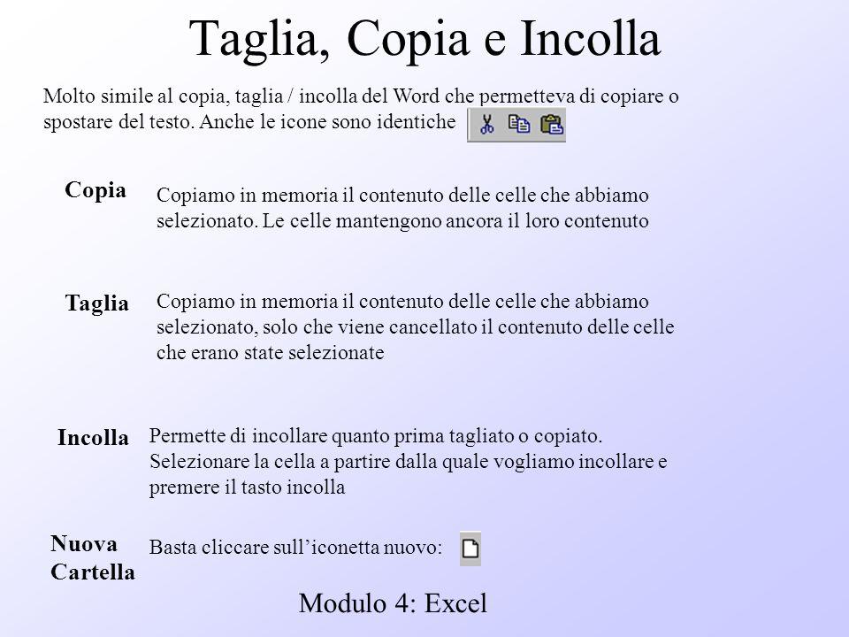 Modulo 4: Excel Taglia, Copia e Incolla Molto simile al copia, taglia / incolla del Word che permetteva di copiare o spostare del testo. Anche le icon