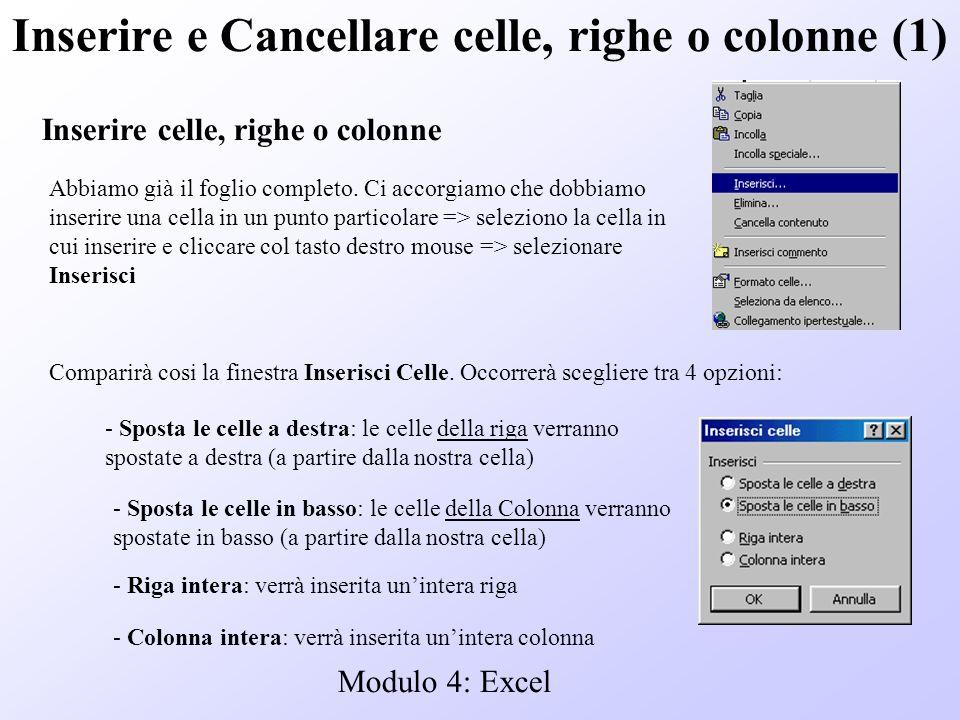 Modulo 4: Excel Inserire e Cancellare celle, righe o colonne (1) Inserire celle, righe o colonne Abbiamo già il foglio completo. Ci accorgiamo che dob
