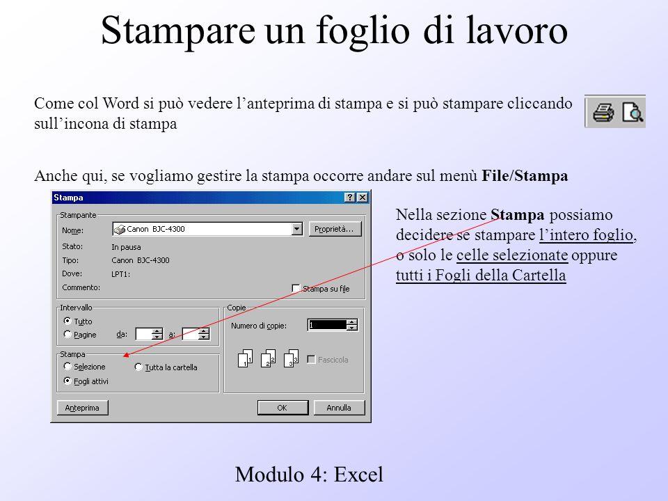 Modulo 4: Excel Stampare un foglio di lavoro Come col Word si può vedere lanteprima di stampa e si può stampare cliccando sullincona di stampa Anche q