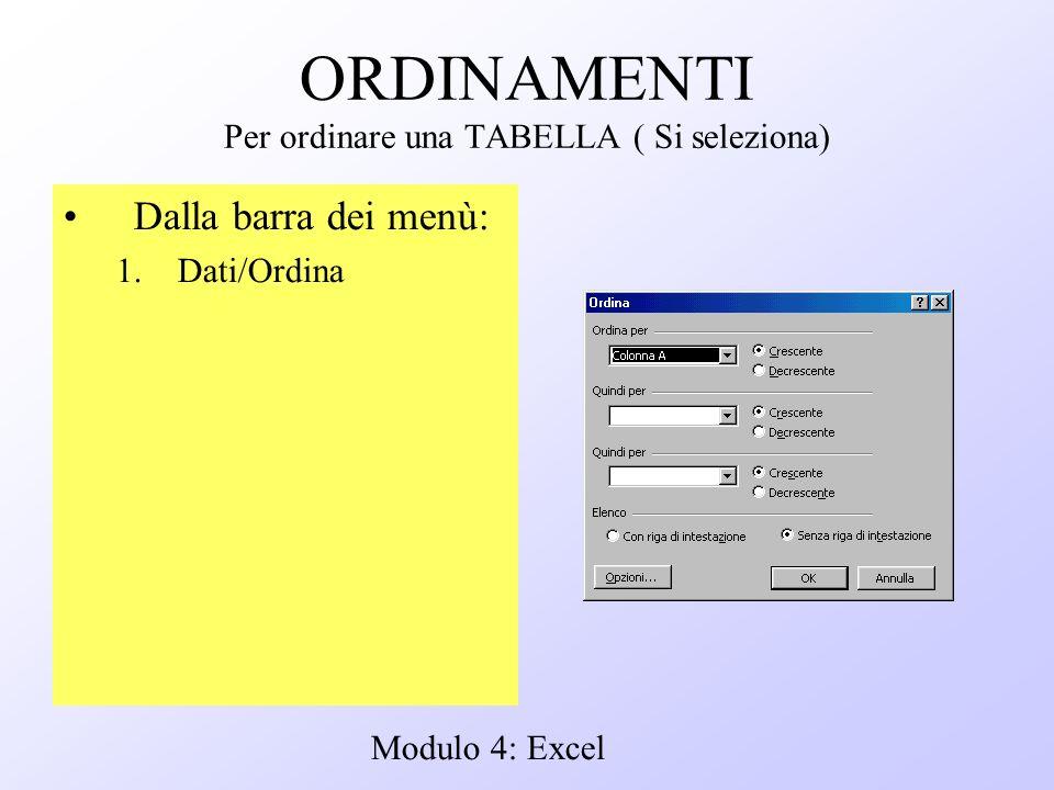 Modulo 4: Excel ORDINAMENTI Per ordinare una TABELLA ( Si seleziona) Dalla barra dei menù: 1.Dati/Ordina
