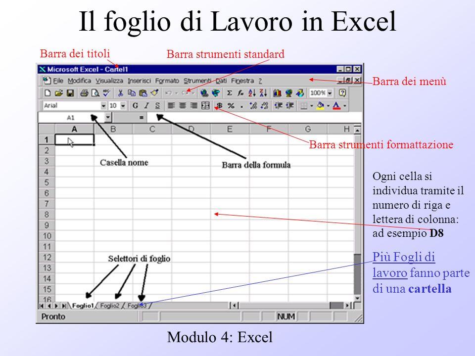 Modulo 4: Excel Il foglio di Lavoro in Excel Cella D8 Barra dei menù Barra dei titoli Barra strumenti standard Barra strumenti formattazione Ogni cell