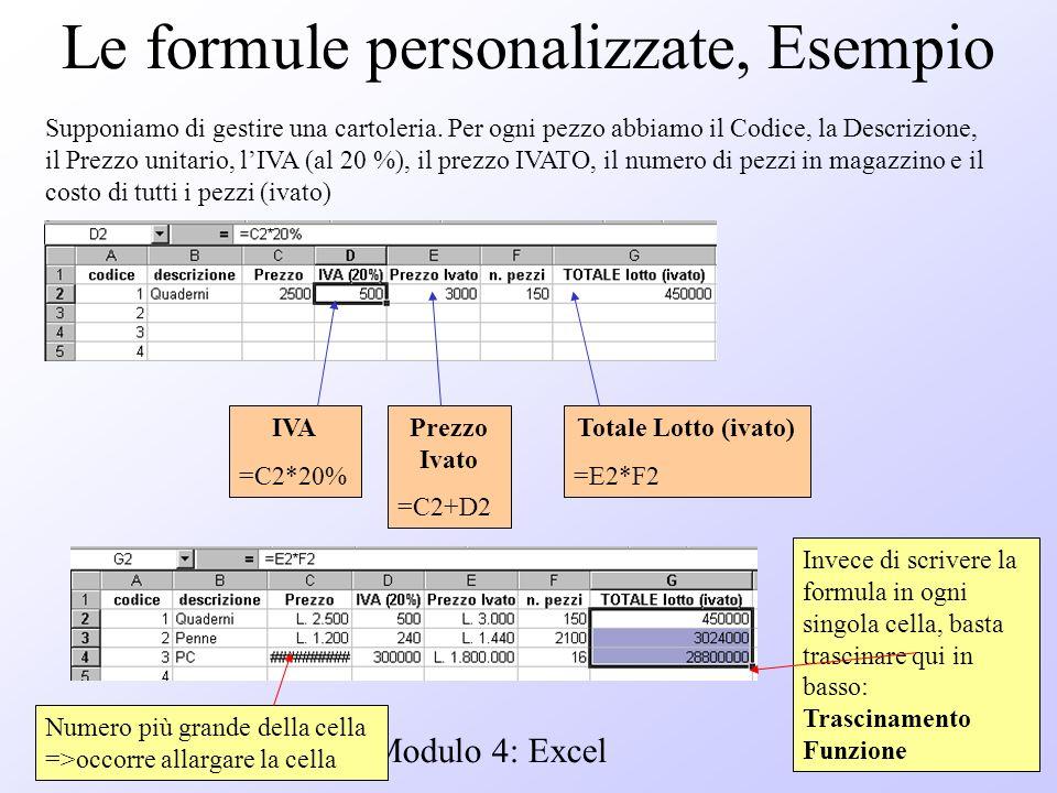 Modulo 4: Excel Le formule personalizzate, Esempio Supponiamo di gestire una cartoleria. Per ogni pezzo abbiamo il Codice, la Descrizione, il Prezzo u