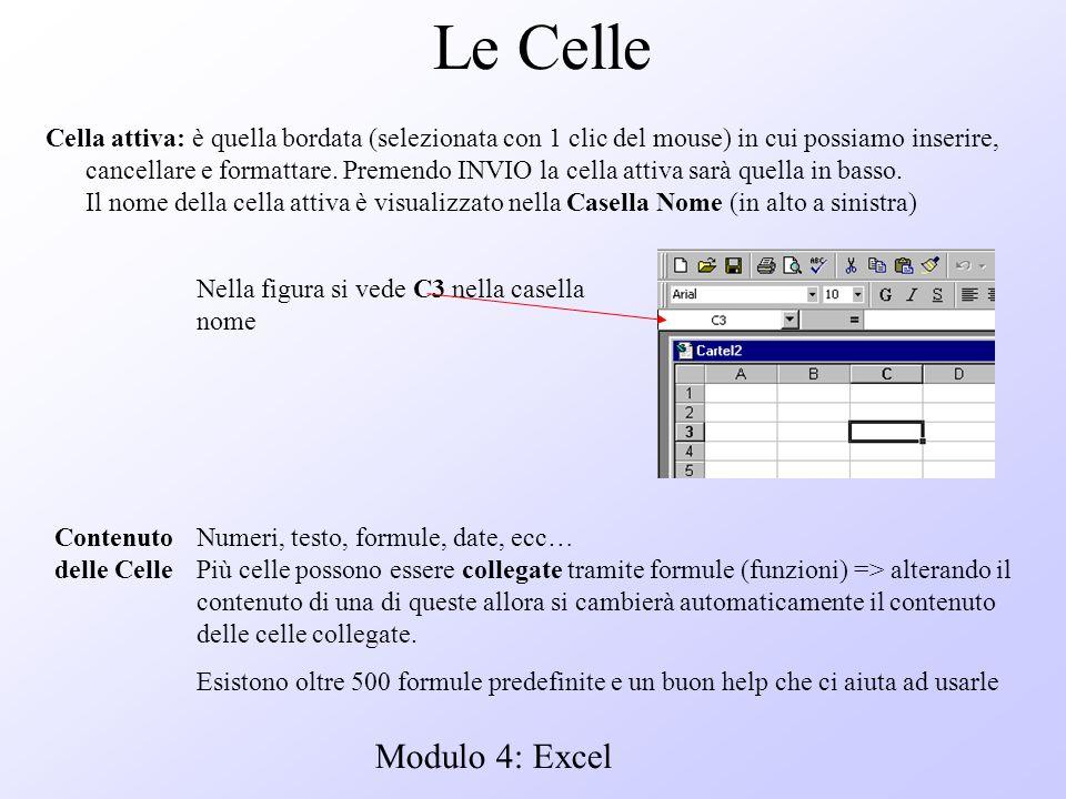 Modulo 4: Excel Le Celle Cella attiva: è quella bordata (selezionata con 1 clic del mouse) in cui possiamo inserire, cancellare e formattare. Premendo