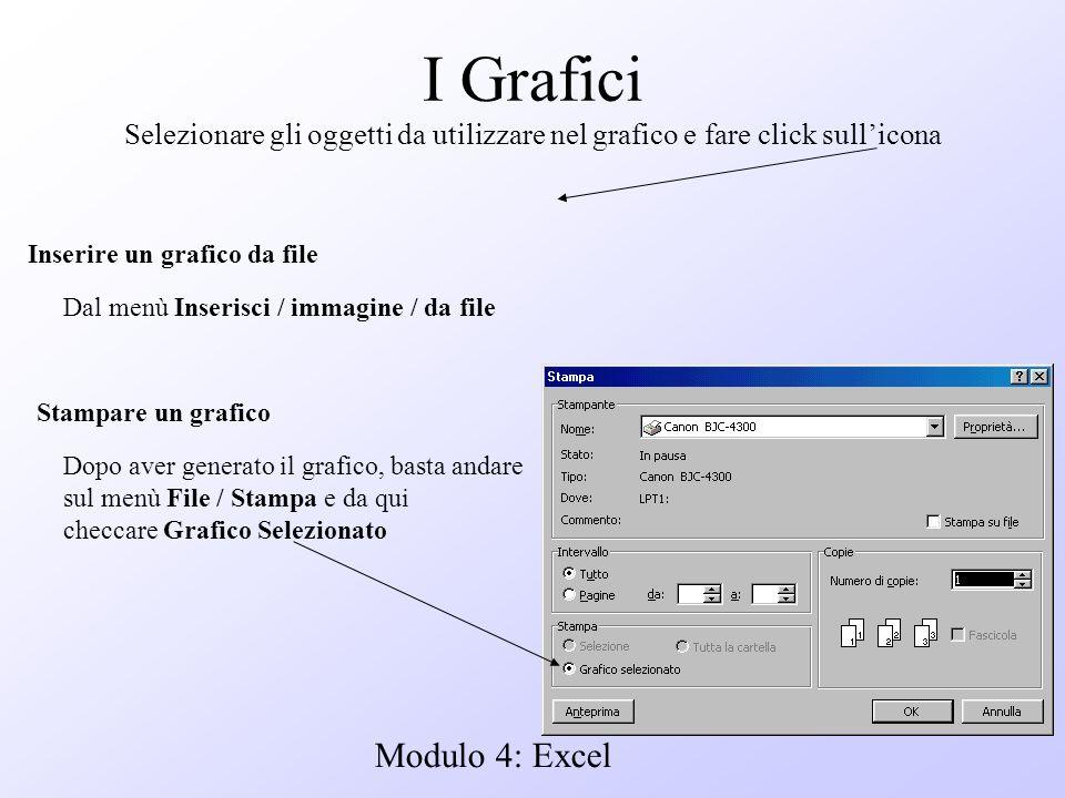 Modulo 4: Excel I Grafici Selezionare gli oggetti da utilizzare nel grafico e fare click sullicona Stampare un grafico Dopo aver generato il grafico,