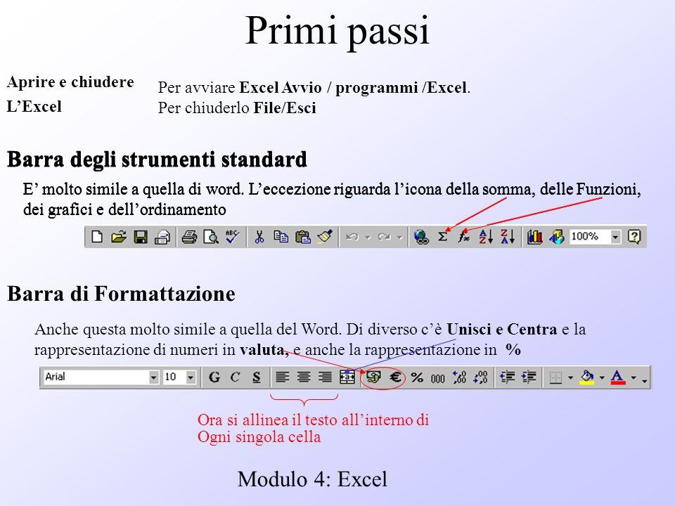 Modulo 4: Excel Primi passi Aprire e chiudere LExcel Per avviare Excel Avvio / programmi /Excel. Per chiuderlo File/Esci Barra degli strumenti standar