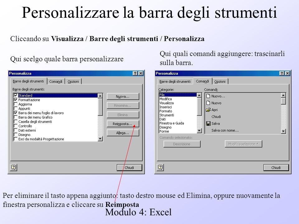 Modulo 4: Excel Personalizzare la barra degli strumenti Cliccando su Visualizza / Barre degli strumenti / Personalizza Qui scelgo quale barra personal