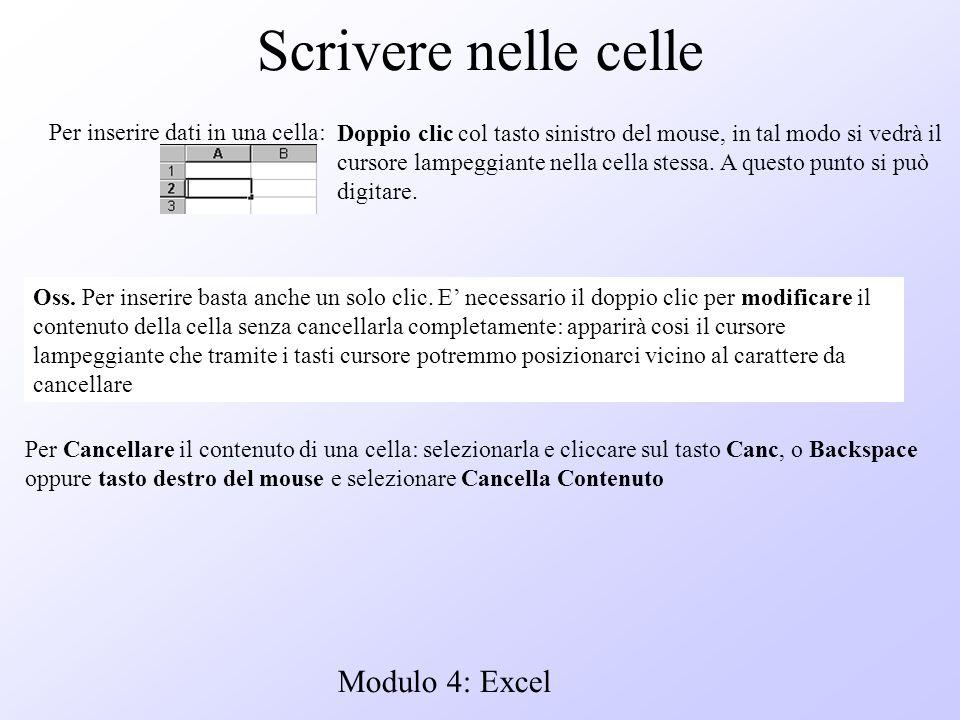 Modulo 4: Excel Scrivere nelle celle Per inserire dati in una cella: Doppio clic col tasto sinistro del mouse, in tal modo si vedrà il cursore lampegg
