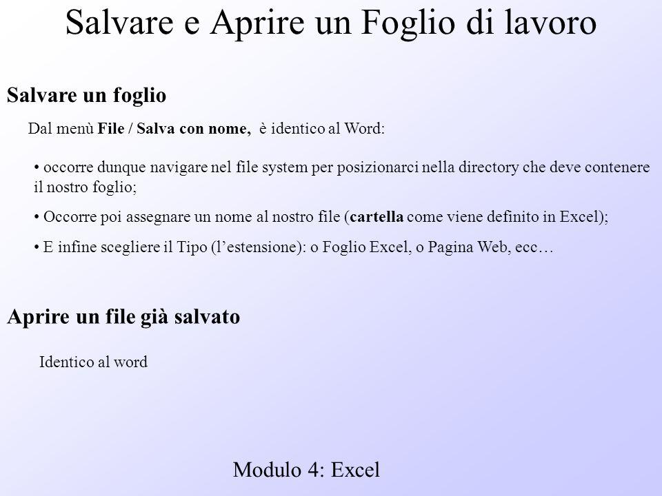 Modulo 4: Excel Salvare e Aprire un Foglio di lavoro Dal menù File / Salva con nome, è identico al Word: occorre dunque navigare nel file system per p