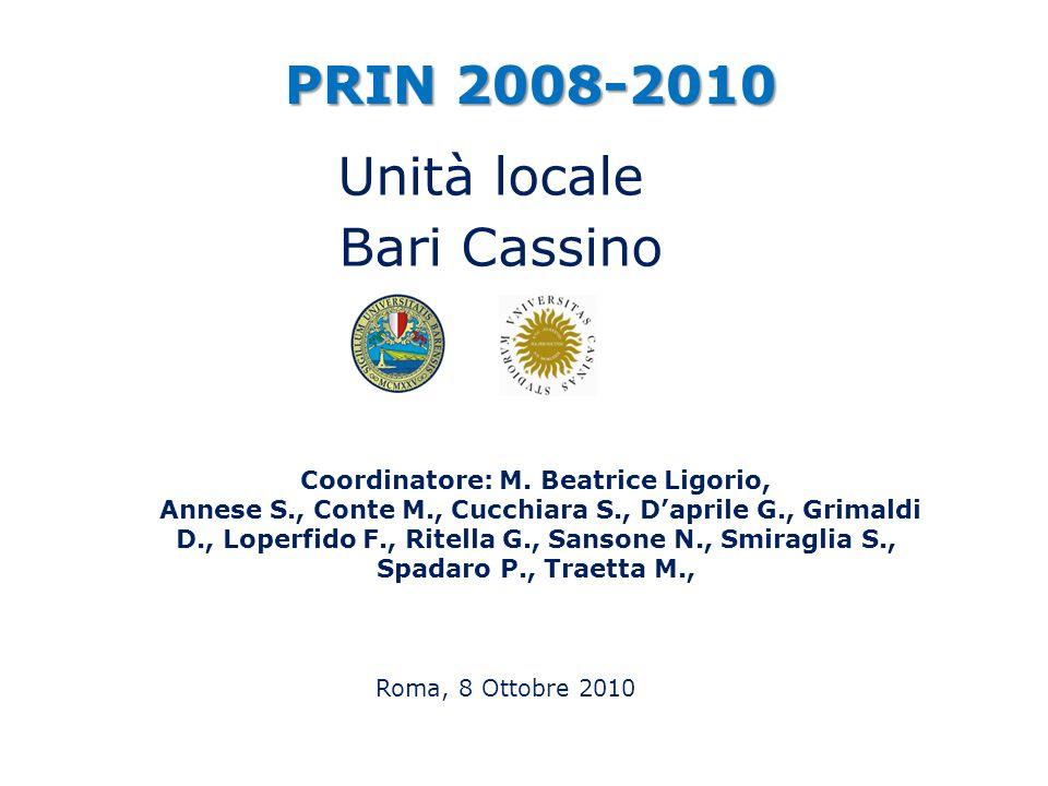 Roma, 8 Ottobre 2010 PRIN 2008-2010 Coordinatore: M. Beatrice Ligorio, Annese S., Conte M., Cucchiara S., Daprile G., Grimaldi D., Loperfido F., Ritel