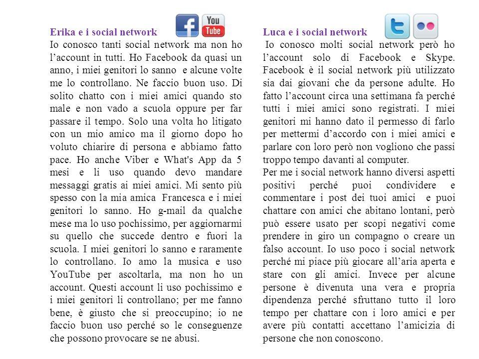 Erika e i social network Io conosco tanti social network ma non ho laccount in tutti. Ho Facebook da quasi un anno, i miei genitori lo sanno e alcune