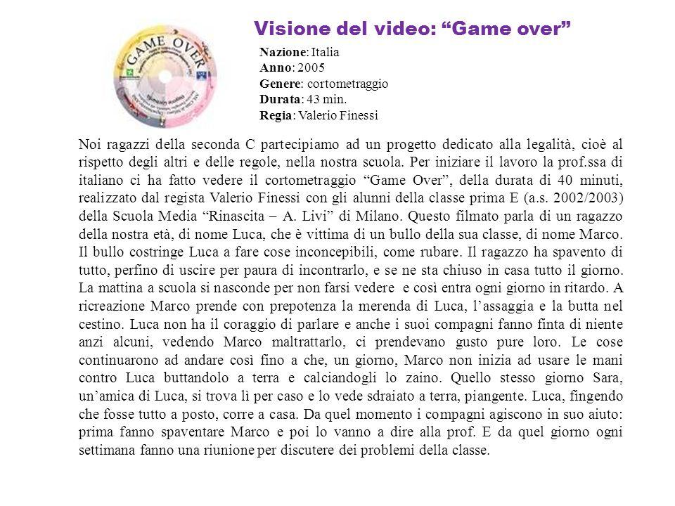 Visione del video: Game over Noi ragazzi della seconda C partecipiamo ad un progetto dedicato alla legalità, cioè al rispetto degli altri e delle rego