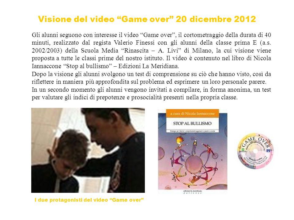 Visione del video Game over 20 dicembre 2012 Gli alunni seguono con interesse il video Game over, il cortometraggio della durata di 40 minuti, realizzato dal regista Valerio Finessi con gli alunni della classe prima E (a.s.