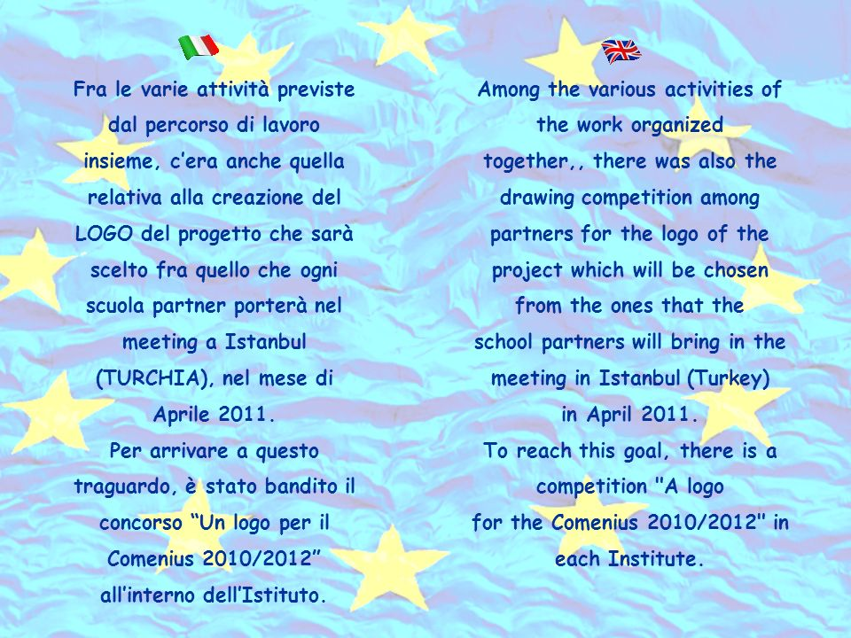 Fra le varie attività previste dal percorso di lavoro insieme, cera anche quella relativa alla creazione del LOGO del progetto che sarà scelto fra quello che ogni scuola partner porterà nel meeting a Istanbul (TURCHIA), nel mese di Aprile 2011.
