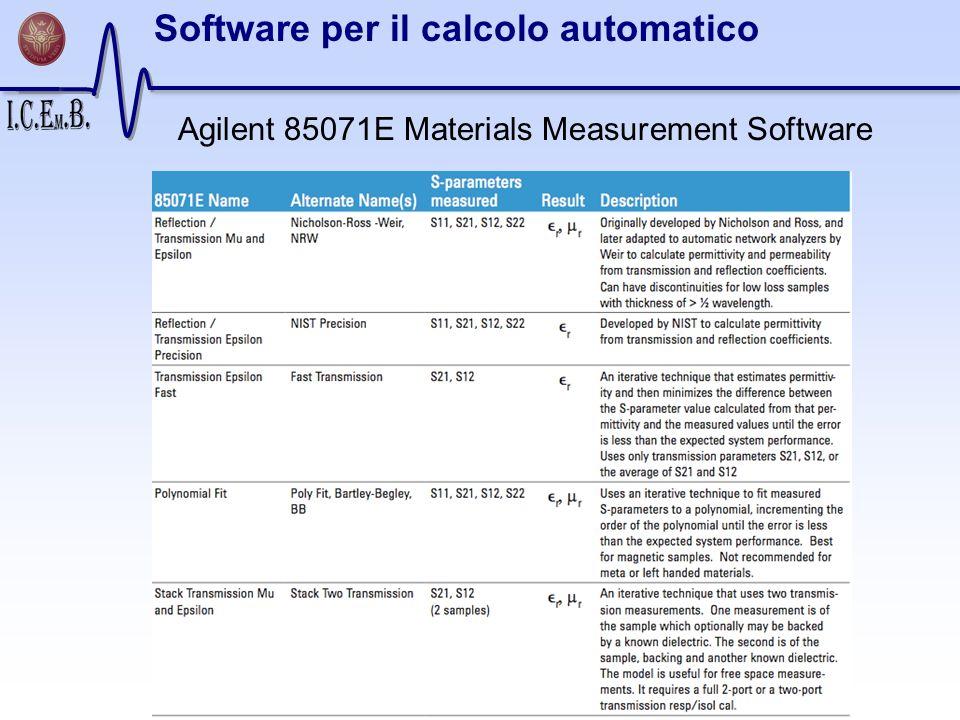 Software per il calcolo automatico Agilent 85071E Materials Measurement Software