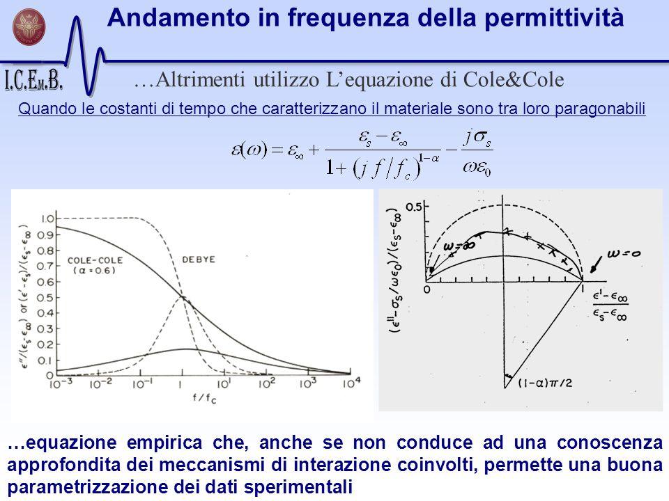 …Altrimenti utilizzo Lequazione di Cole&Cole Quando le costanti di tempo che caratterizzano il materiale sono tra loro paragonabili …equazione empiric