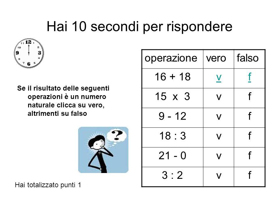 Hai 10 secondi per rispondere Se il risultato delle seguenti operazioni è un numero naturale clicca su vero, altrimenti su falso operazioneverofalso 16 + 18vf 15 x 3vf 9 - 12vf 18 : 3vf 21 - 0vf 3 : 2vf Hai totalizzato punti 6