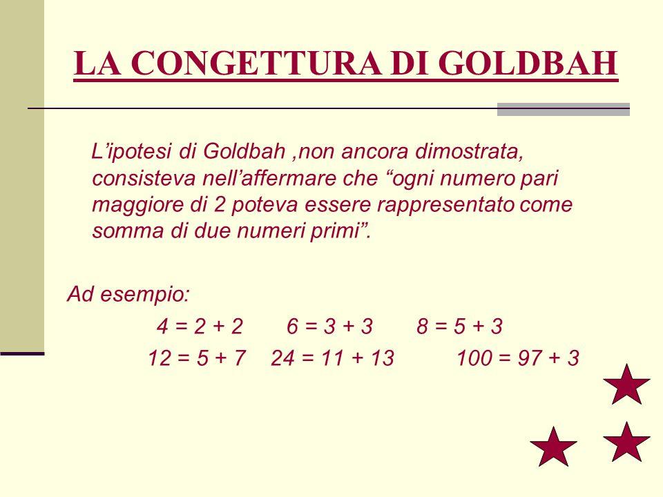 LA CONGETTURA DI GOLDBAH Lipotesi di Goldbah,non ancora dimostrata, consisteva nellaffermare che ogni numero pari maggiore di 2 poteva essere rapprese