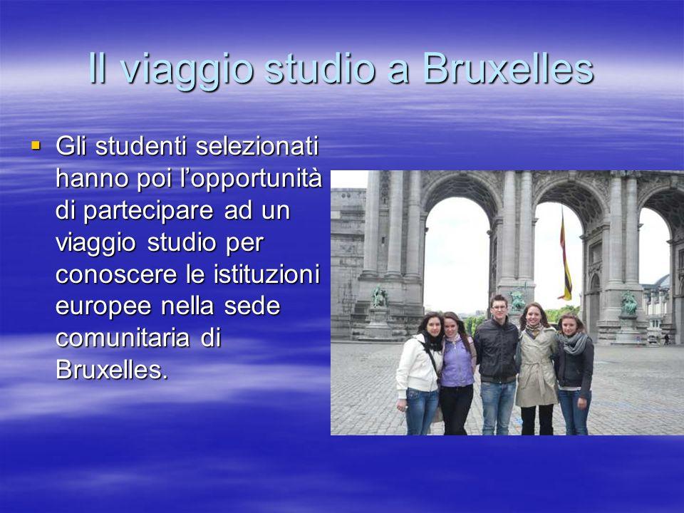Il viaggio studio a Bruxelles Gli studenti selezionati hanno poi lopportunità di partecipare ad un viaggio studio per conoscere le istituzioni europee